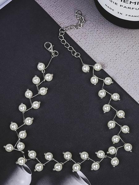 Milanoo Collar de metal redondo elegantePerlas de imitacion para mujer para fiesta