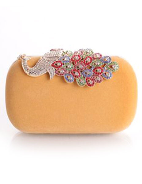 Milanoo Noche bolso de embrague boda caja bolso Rhinestone pavo real Deco monedero nupcial