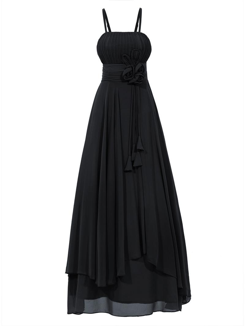 Ericdress A Line Spaghetti Straps Asymmetry Chiffon Ankle Length Prom Dress
