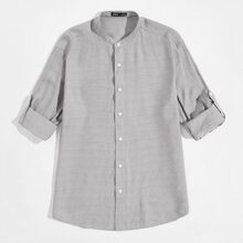 Camisa con boton delantero de manga doblada