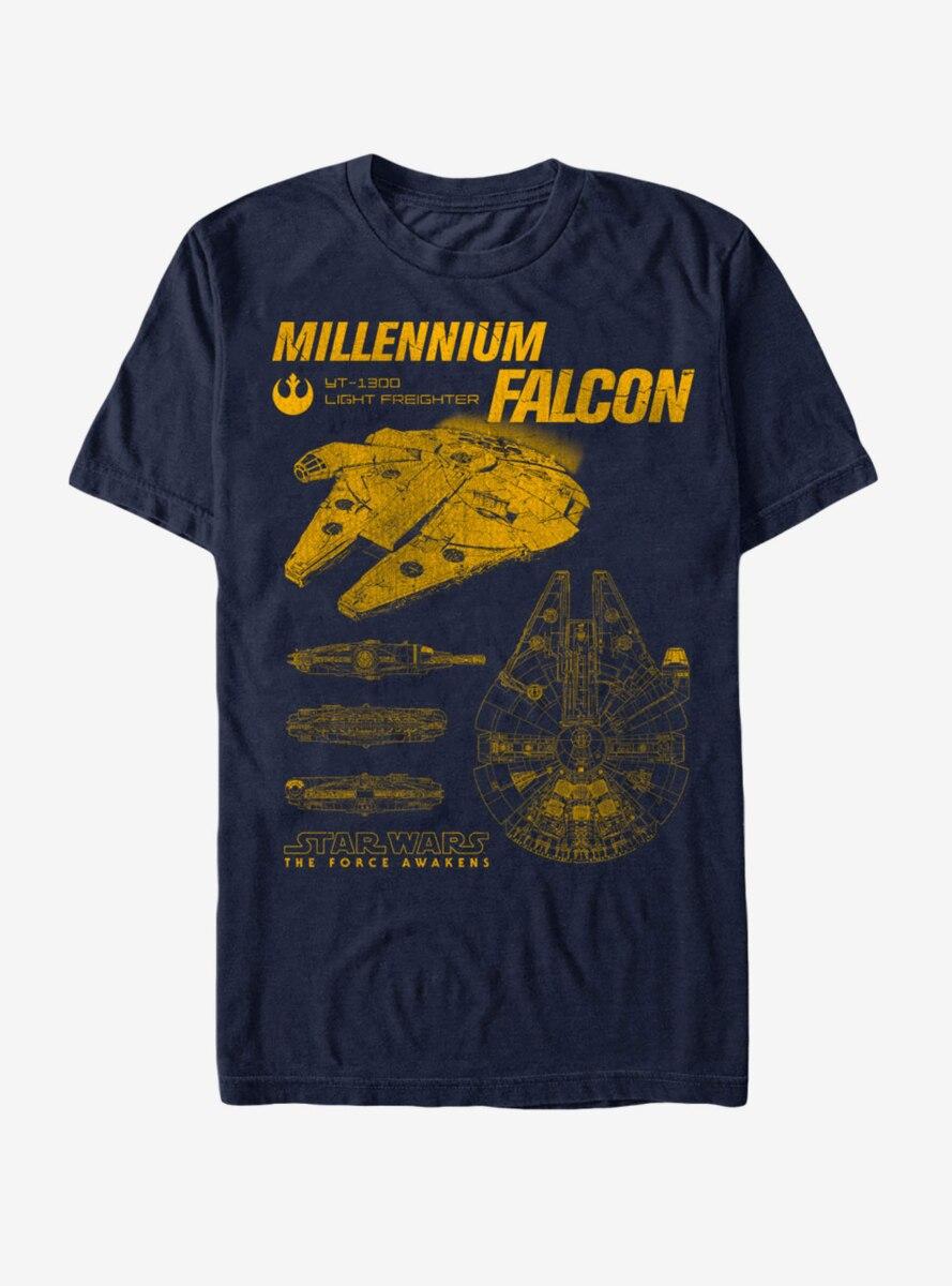 Star Wars: The Force Awakens Millennium Falcon Blueprints T-Shirt