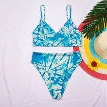 Tie Dye Rib High Waisted Bikini Swimsuit