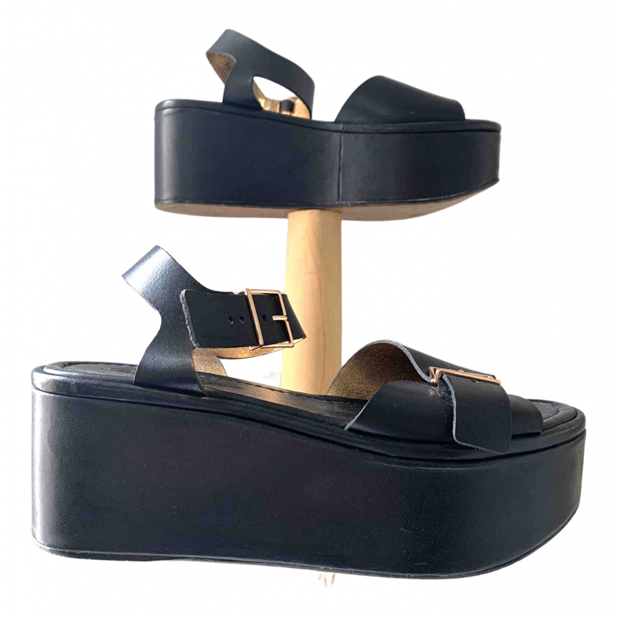 Robert Clergerie \N Black Leather Sandals for Women 38.5 EU