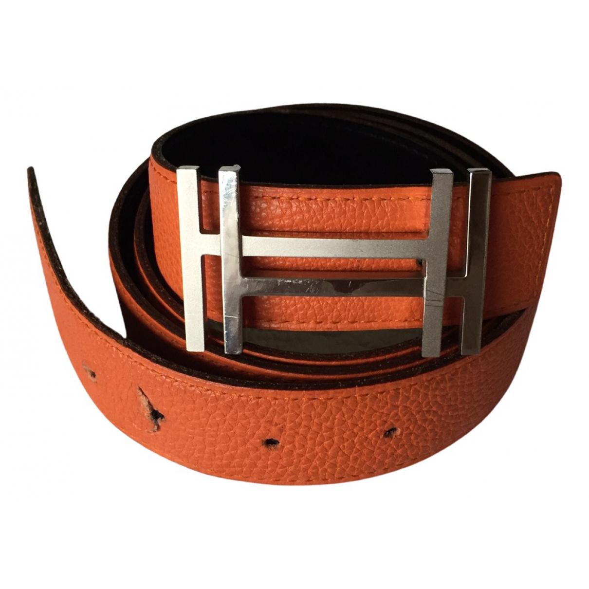 Hermes H Guertel in  Orange Leder