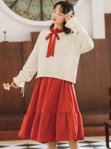 Milanoo Academic Lolita Outfits Red Long Sleeves Polyester Vintage DressOvercoat Daily Casual Long Dress