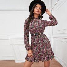 Allover Floral Print Ruffle Hem A-line Dress Without Belt