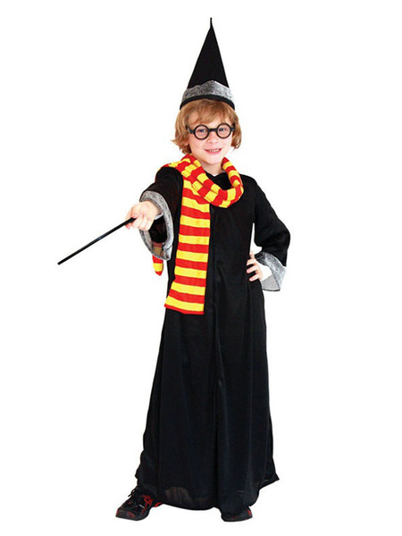 Milanoo Kids Harry Potter Cosplay Gryffindor Gown Black 5 Pieces Child Costumes Outfits Halloween
