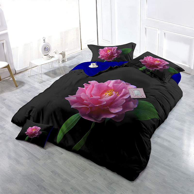 Blooming Big Red Rose Wear-resistant Breathable High Quality 60s Cotton 4-Piece 3D Bedding Sets