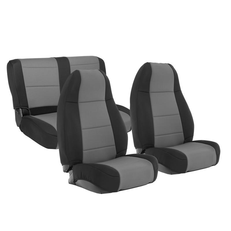 Neoprene Seat Cover 76-90 Wrangler CJ/YJ Set Front/Rear Charcoal Smittybilt