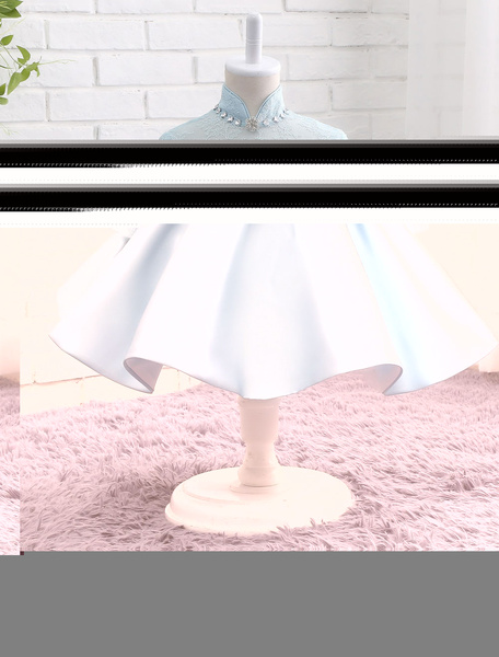 Milanoo Satin Flower Girl Dress Pastel Blue Lace Beading Bow Sash Mandarin Collar Three Quarter Sleeve Short Tutu Dress