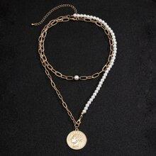 2 Stuecke Maenner Halskette mit Kunstperlen Dekor