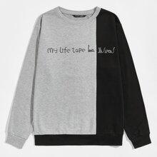 Pullover mit Katze & Buchstaben Grafik und Farbblock