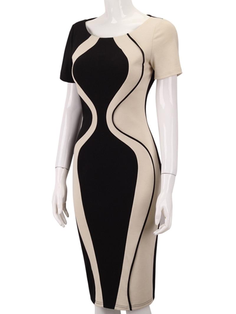 Ericdress Mid-Calf Short Sleeve Fashion Round Neck Color Blockl Pencil Dress