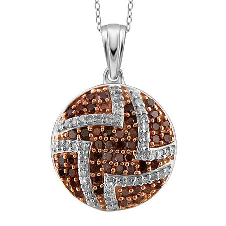 1/2 CT. T.W. White & Color-Enhanced Red Diamond Sterling Silver Pendant, One Size , No Color Family