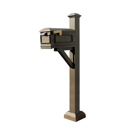 WPD-SC2-S7-LMC-BRZ Westhaven System with Lewiston Mailbox  Square Collar & Pyramid Finial in