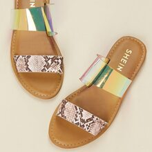 Snakeskin And Iridescent Band Open Toe Sandals