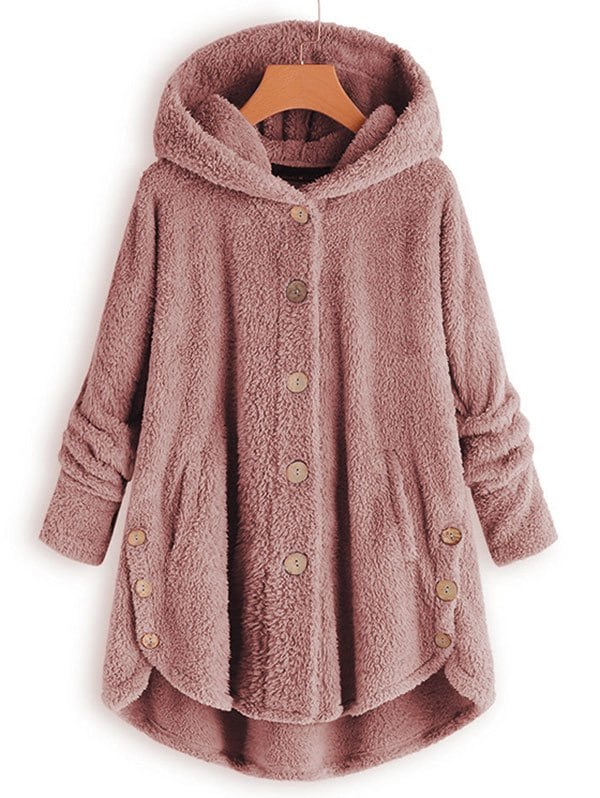 Plus Size Faux Shearling Buttons Hooded Coat