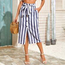 Button Front Self Belted Striped Skirt