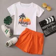 Outfits dos piezas para niño pequeño Letras Multicolor Casual