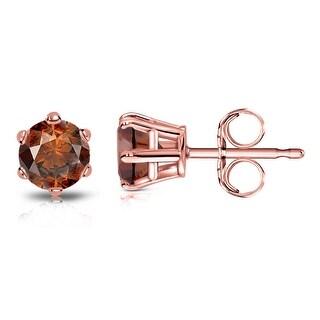 Auriya 14k Gold 3/4ctw Brown Diamond Stud Earrings 6-prong (Rose)