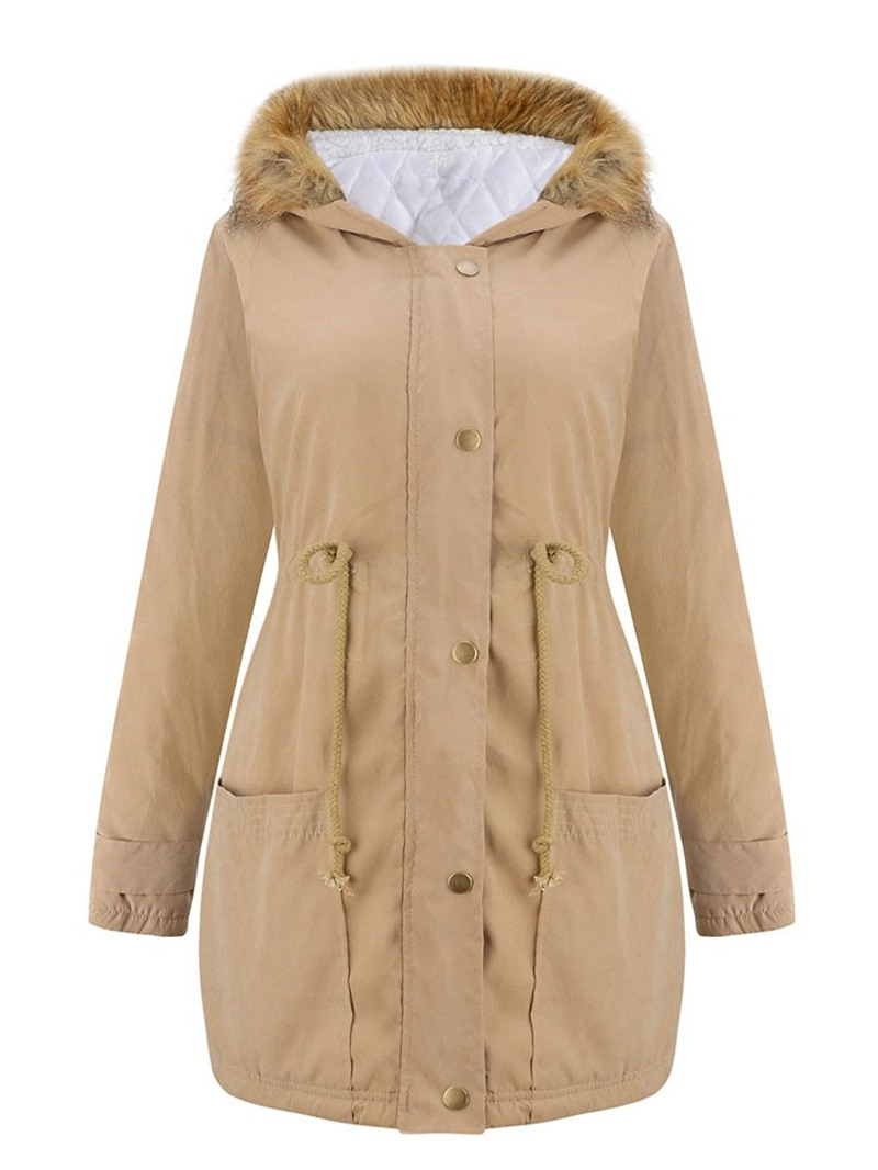 Ericdress Zipper Loose Thick Mid-Length Cotton Women's Jacket