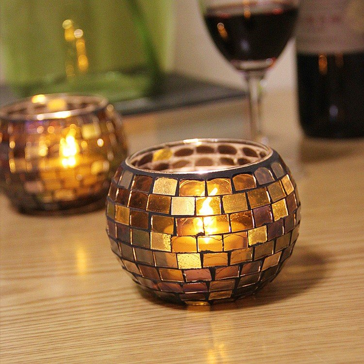 Handcrafted Candle Holder Mosaic Glass Colors Strip Candlestick Candelabra