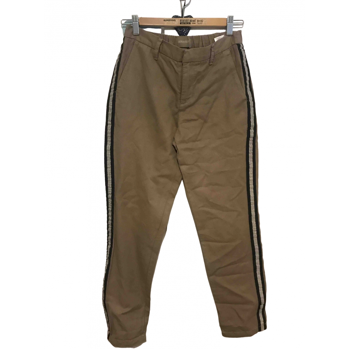 Zadig & Voltaire \N Khaki Cotton Trousers for Women 36 IT