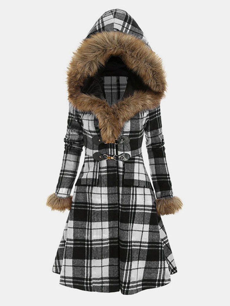 Plaid Button Fleece Fax Fur Hooded Coat