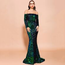 Off Shoulder Iridescent Sequin Fishtail Prom Dress