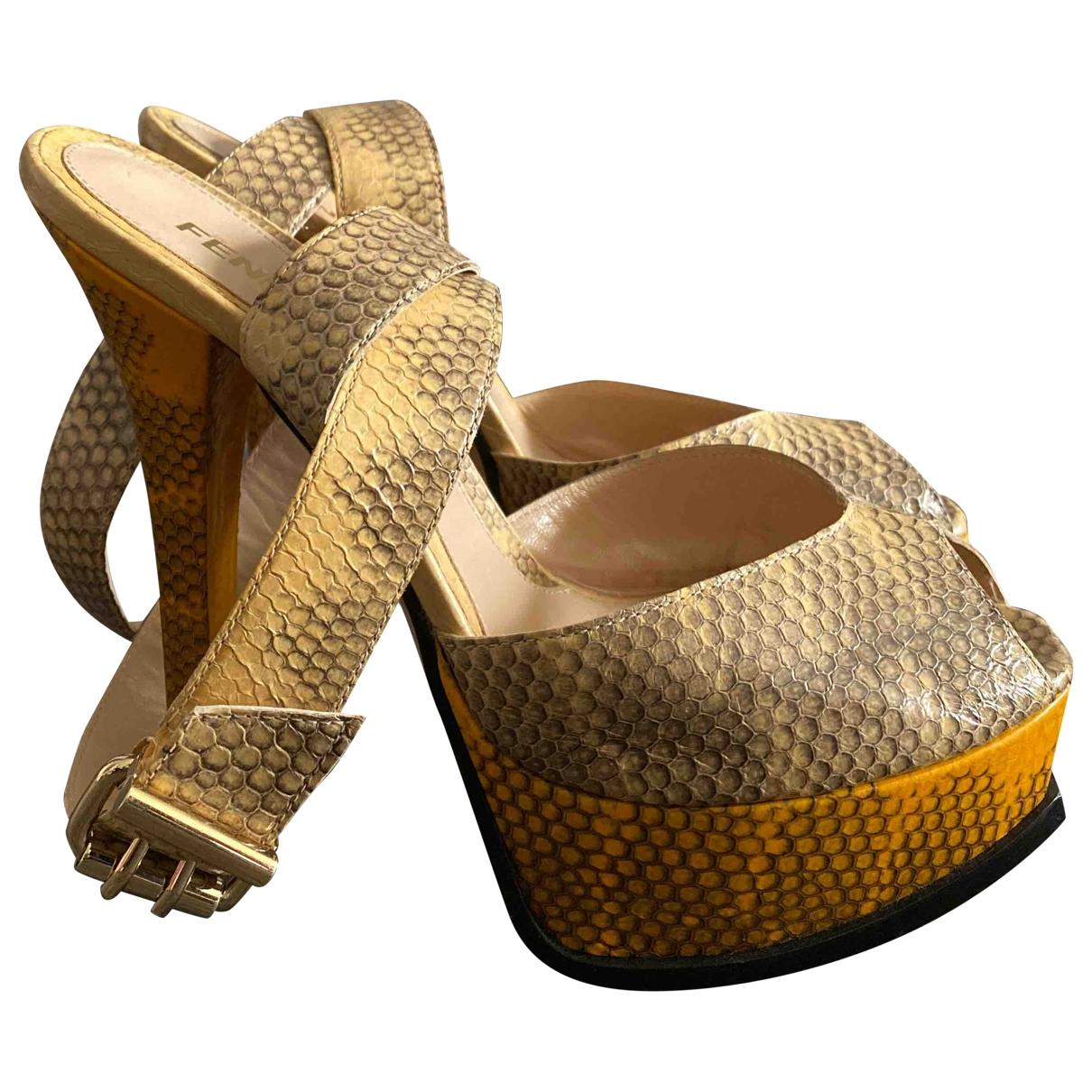 Fendi \N Beige Leather Heels for Women 37.5 EU