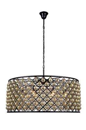 1214G43MB-GT/RC 1214 Madison Collection Pendant Lamp D: 43.5in H: 18.25in Lt: 10 Mocha Brown Finish Royal Cut Golden Teak