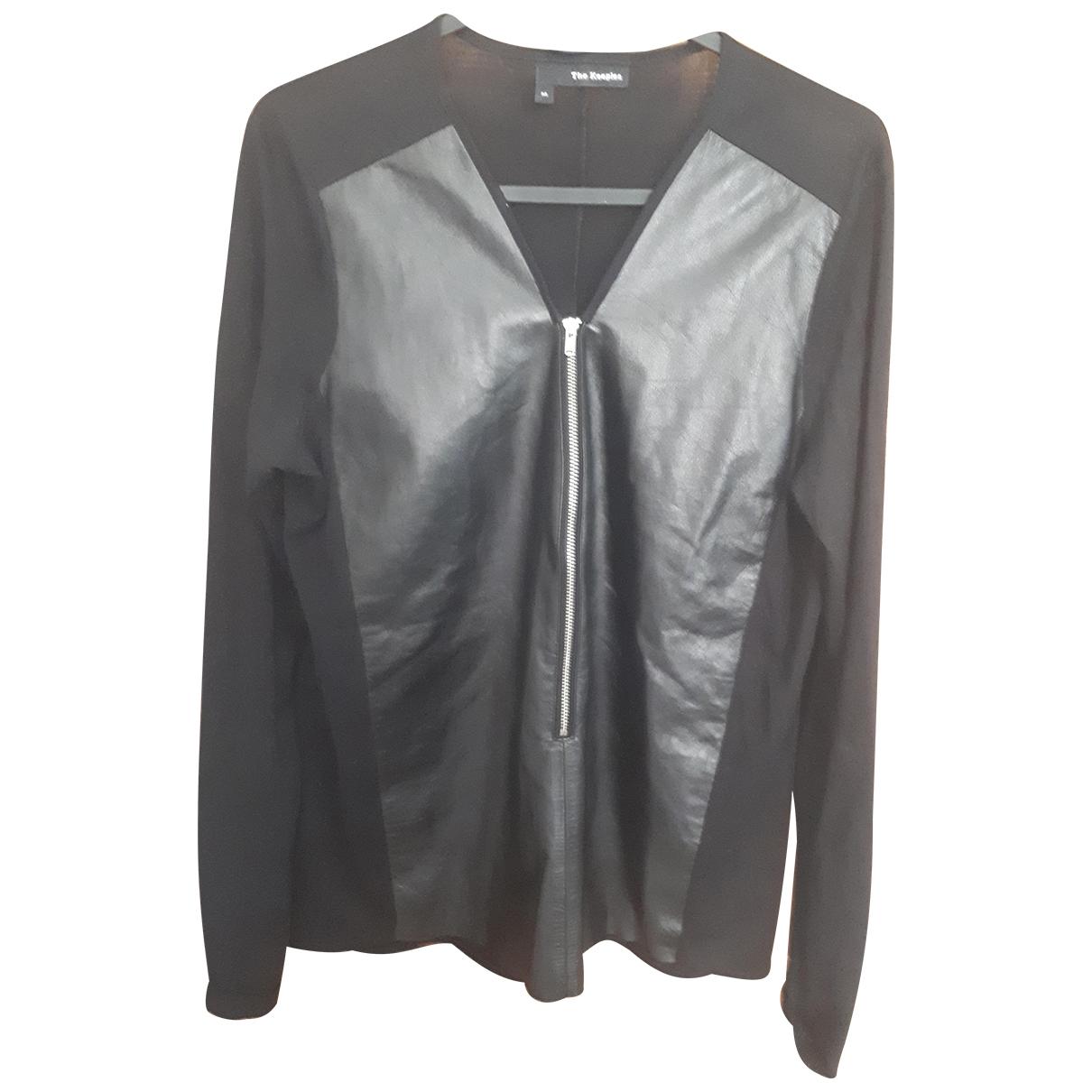 The Kooples - Top   pour femme en cuir - noir