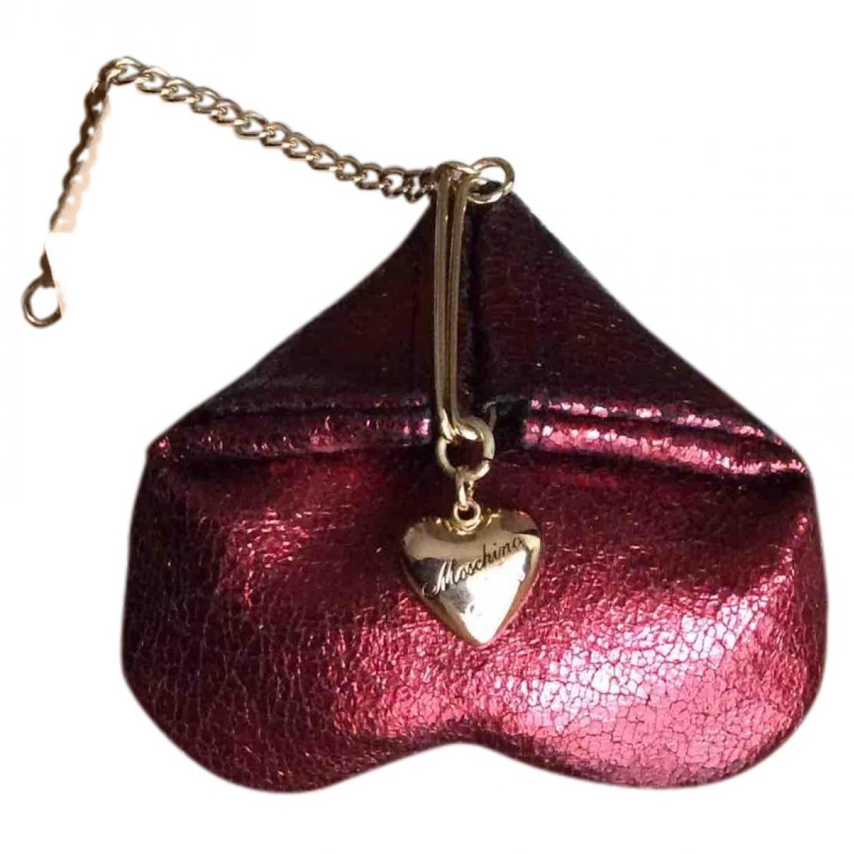 Moschino - Portefeuille   pour femme en cuir - rouge