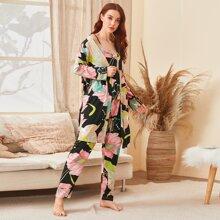 3 Stuecke Pajama Set mit Blumen Muster & Robe mit Guertel