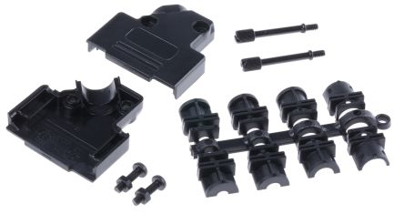 MH Connectors , MHD45PPK ABS Angled D-sub Connector Backshell, 15 Way, Strain Relief, Black (5)