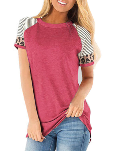 Milanoo Short Sleeves Tees Leopard Patchwork T Shirt For Women