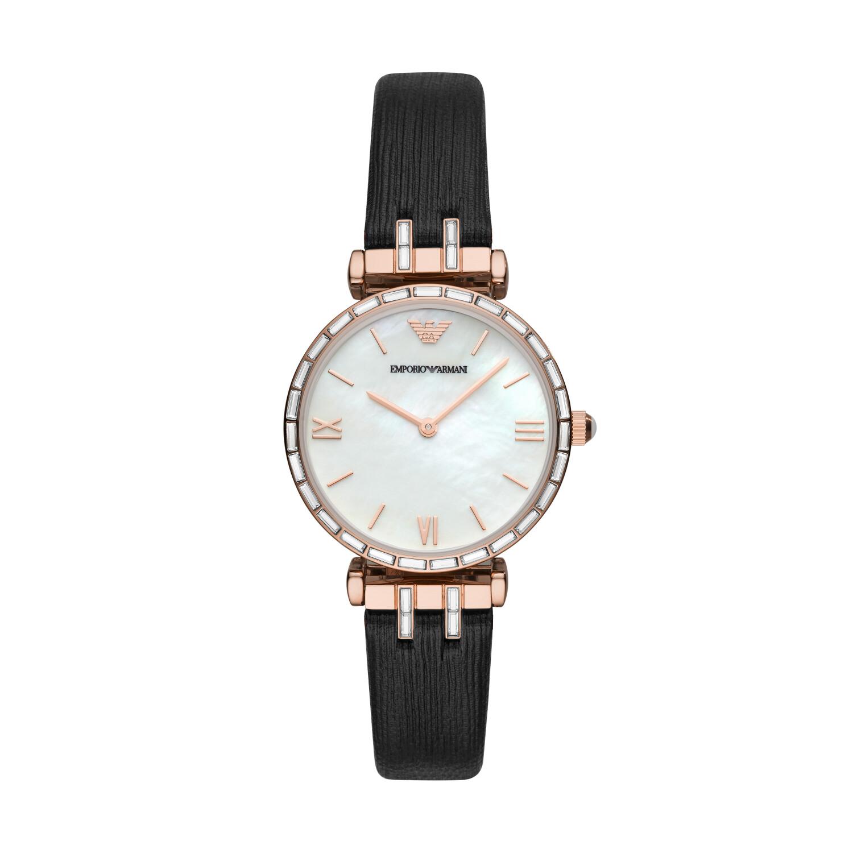 Emporio Armani Women's Gianni T-Bar AR11295 Black Leather Quartz Dress Watch