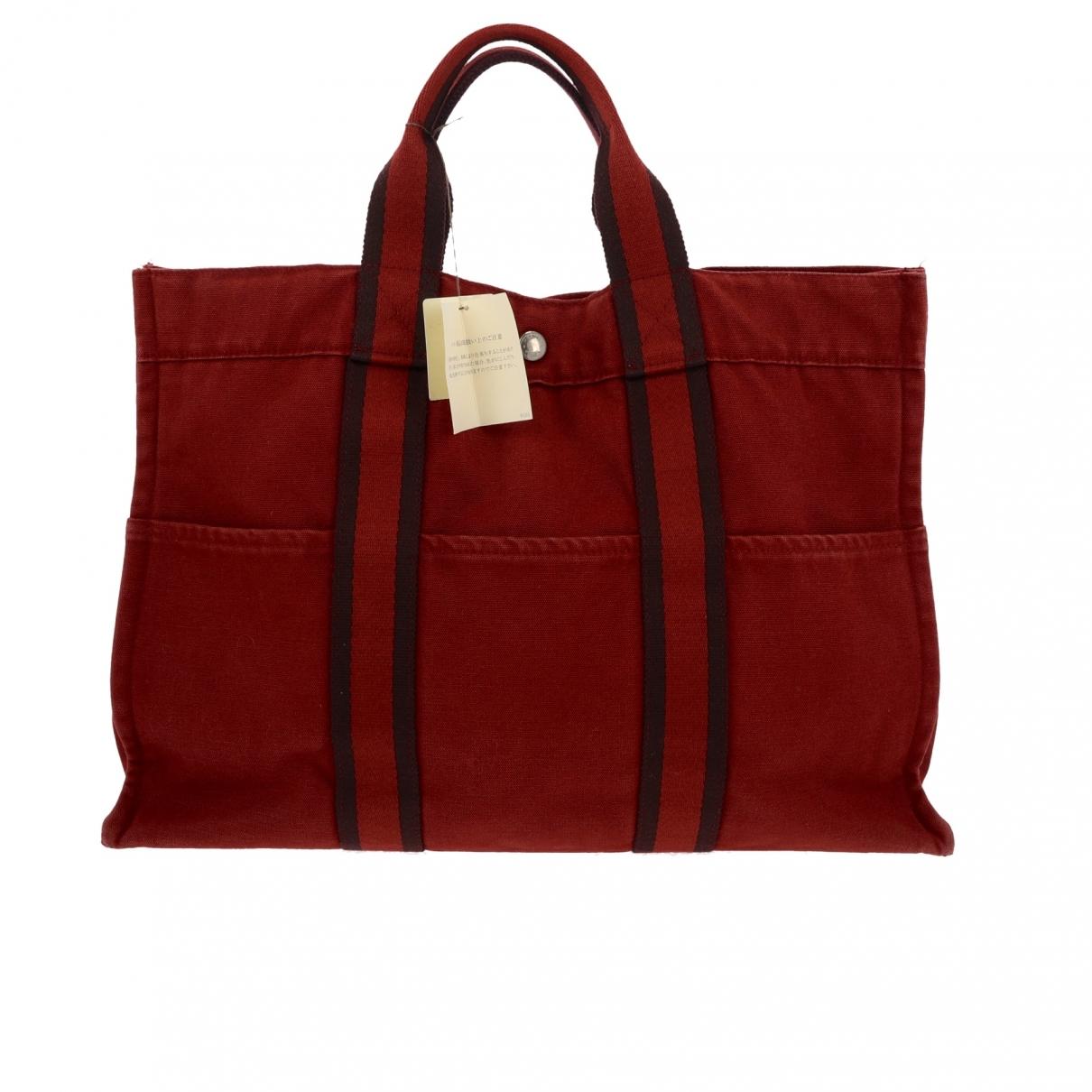 Hermes Toto Handtasche in  Rot Leinen