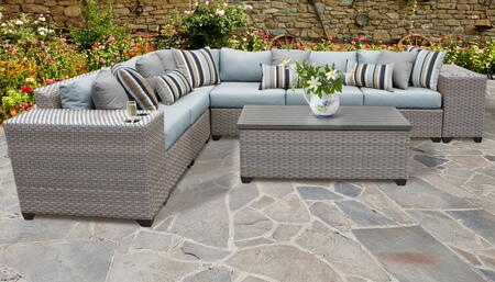 Florence Collection FLORENCE-09b-SPA 9-Piece Patio Set 09b with 1 Corner Chair   5 Armless Chair   2 Cup Table   1 Storage Coffee Table - Grey and