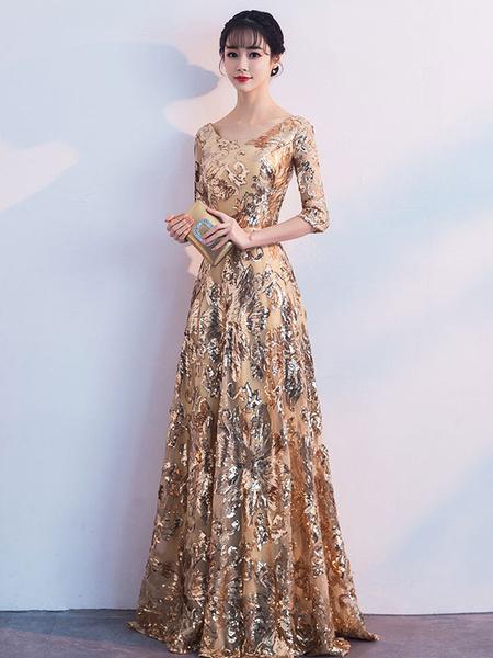 Milanoo Prom Dress Jewel Neck A Line Half Sleeves Floor Length Sequin Party Dresses