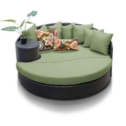 Newport Collection NEWPORT-CILANTRO Circular Sun Bed with 4 Large Pillows and 3 Regular Pillows - Wheat and Cilantro