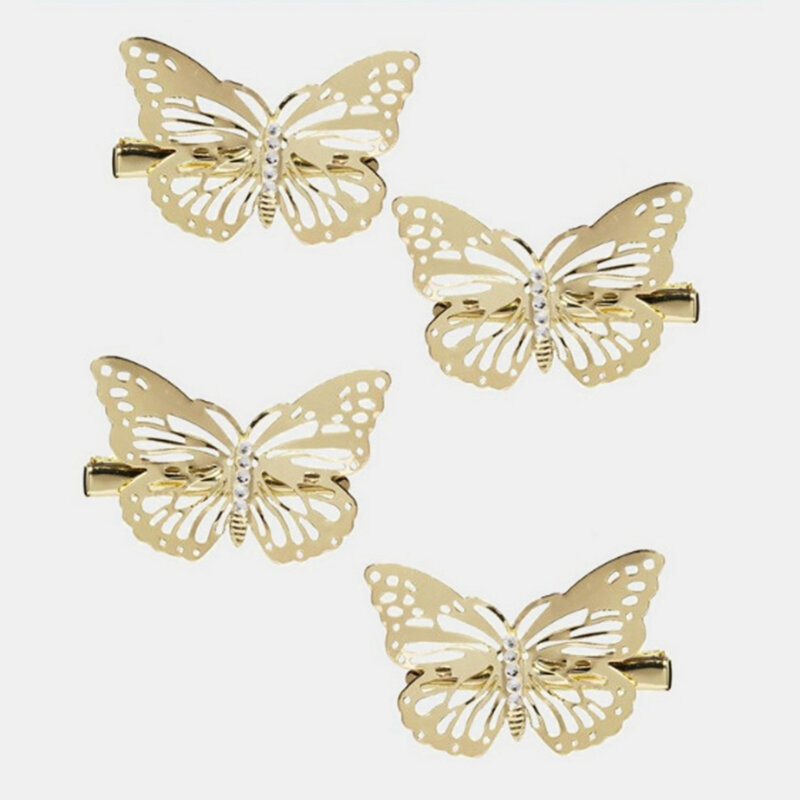 Trendy Geometric Metal Butterfly Hair Clips Vintage Hollow Butterfly Hairpin Hair Acessories