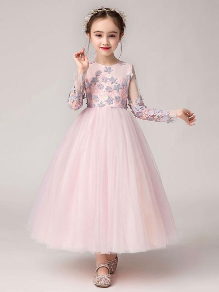 Milanoo Vestidos de niña de flores Cuello de joya Mangas largas Flores Vestidos de desfile de niños formales