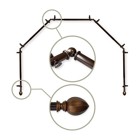 Rod Desyne Garnet 5-Sided Bay Window Rod, One Size , Brown