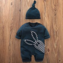 Baby Boy Striped Cartoon Graphic Popper Jumpsuit With Hat