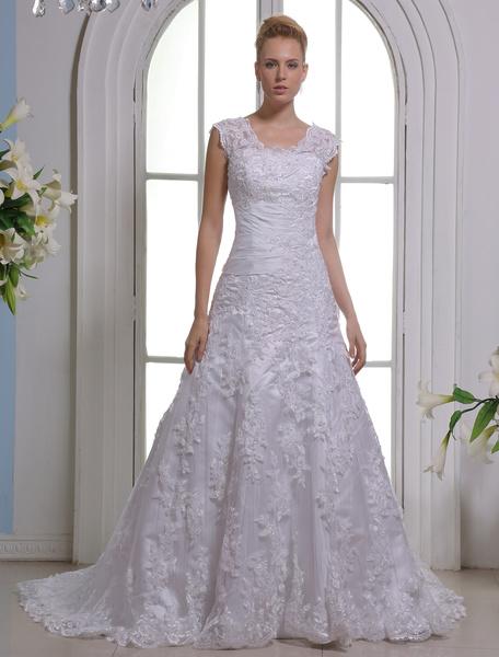 Milanoo White Off-The-Shoulder Wedding Dress