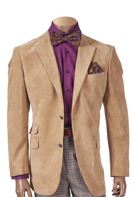 Men's Sueded Notch Lapel Khaki 2 Button Single Breasted Blazer