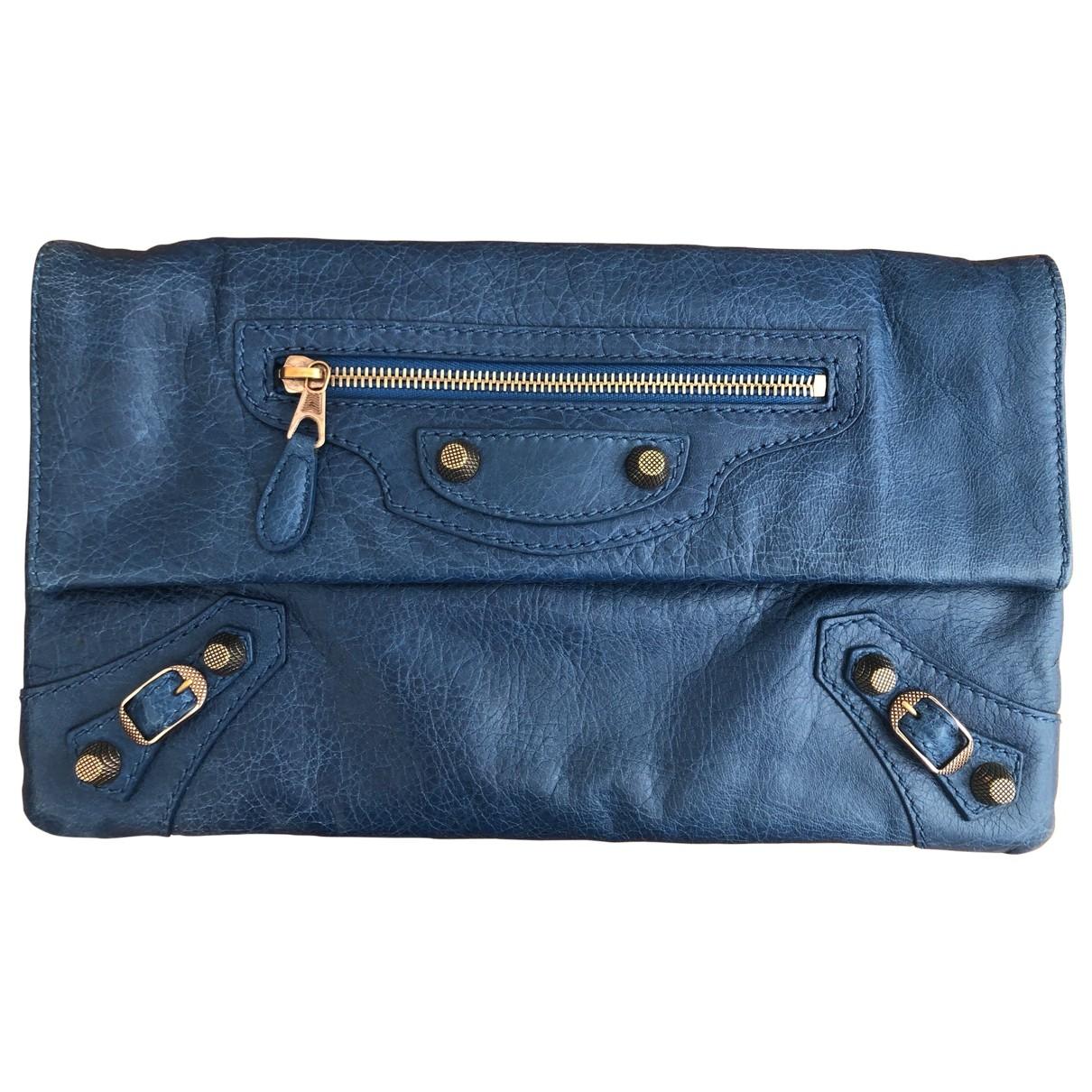 Balenciaga - Pochette Envelop pour femme en cuir - bleu