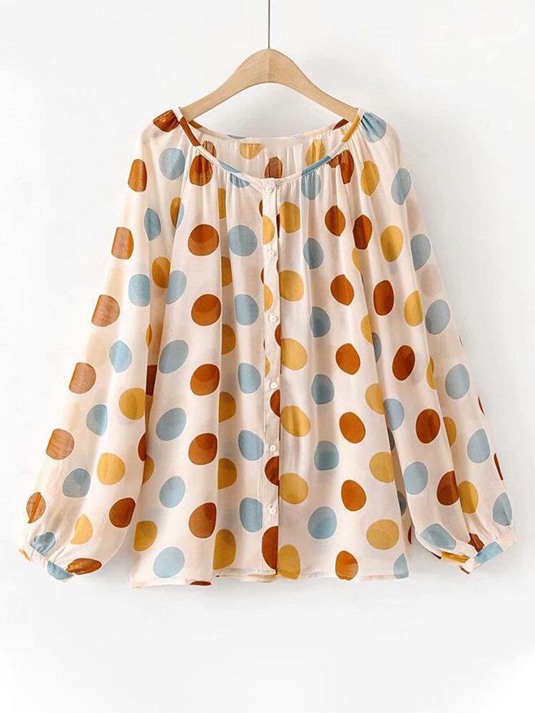 Polka Dot O-Neck Button Long Sleeve Casual Blouse
