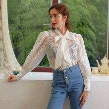 Tie Neck Sheer Lace Blouse Without Bra